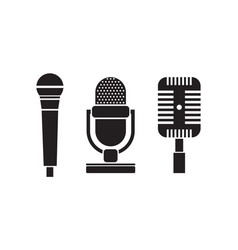 Retro microphone icon set vector