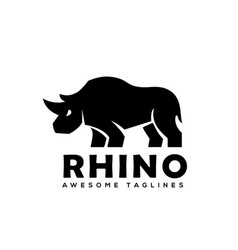 rhinoceros logo monochrome color business template vector image