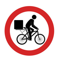 road sign with delivery man in bike vector image