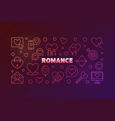 romance concept colorful banner on dark vector image
