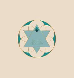 Sacred geometry green flower life logo template vector