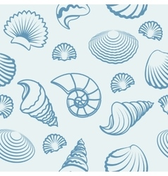 Sea shell hand drawn pattern vector image