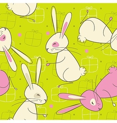 Seamless Easter Rabbit Pattern vector image