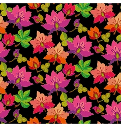 Seamless pattern of feirytale flowers on black vector