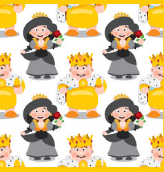 seamless pattern with cartoon king and queen vector image