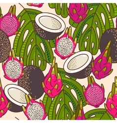 Seamless pitaya and coconut vector