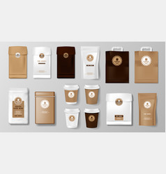 set realistic coffee packaging mockup for vector image