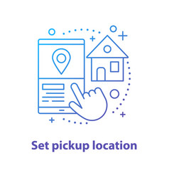 Setting pick up location concept icon vector