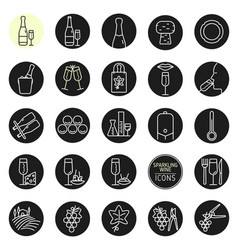 sparkling wine icons vector image