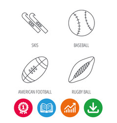 sport fitness rugby ball and baseball icons vector image