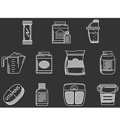 Sports supplements white line icons set vector image