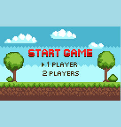 Start game players choice arcade scenery pixel vector