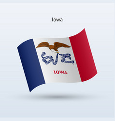 State of iowa flag waving form vector