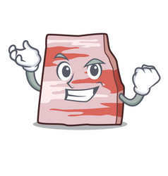 Successful pork lard character cartoon vector