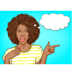 Surprised black woman pointing finger vector