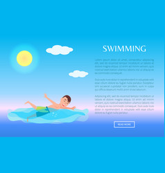 swimming web poster design summer sport activity vector image