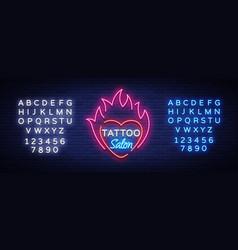 tattoo salon logo neon sign a symbol vector image