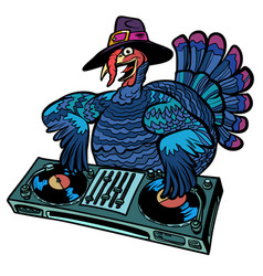thanksgiving turkey character isolate on white vector image