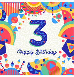 three 3 year birthday party greeting card number vector image