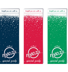 Three vertical ticket for Christmas party vector