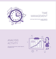 time management and analysis activity concept vector image