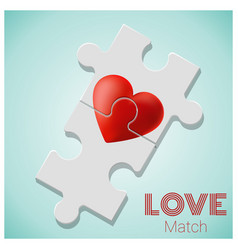 true love concept with pieces of red heart puzzle vector image