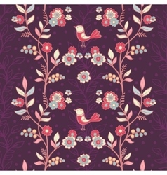 Vintage floral pattern with birds and flowers vector image