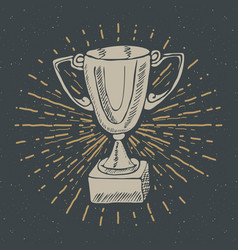 Vintage label hand drawn sport trophy winners vector