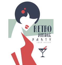 Vintage party logo design embelm with smart vector