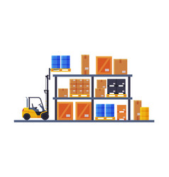warehouse interior shelves with cardboard boxes vector image