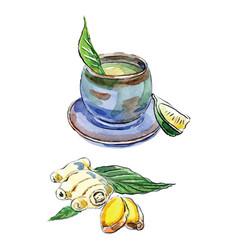 Watercolor tea ginger and lemon vector