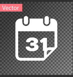 white calendar icon isolated on transparent vector image