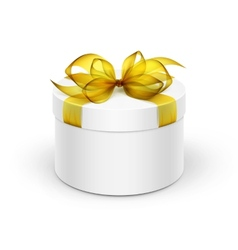 White Round Gift Box with Yellow Ribbon and Bow vector image