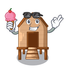 With ice cream chicken coop isolated on a mascot vector