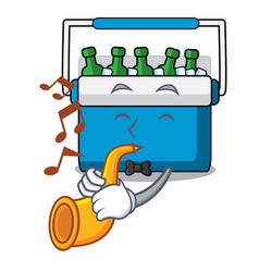 With trumpet freezer bag mascot cartoon vector
