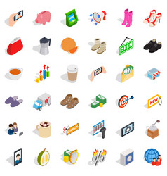Woman shopping icons set isometric style vector