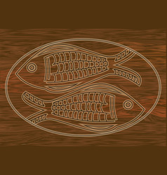 Wooden art two fish carved into dark wood symbol vector