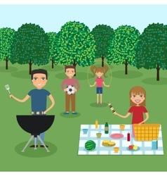 Happy family picnic vector