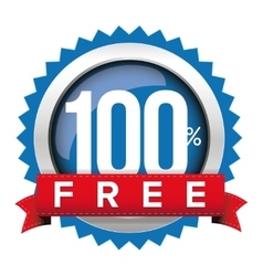 Hundred percent free badge with ribbon vector image vector image