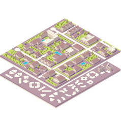 Isometric small town map creation kit vector image vector image