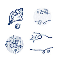 sea shell and rope design set vector image vector image