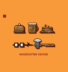 woodcutter set vector image vector image