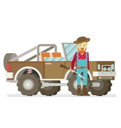 Cartoon hunter with gun redneck car isolated on vector