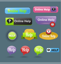 colorful website online help buttons design vector image vector image