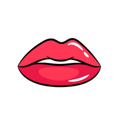 female red lips sticker vector image vector image
