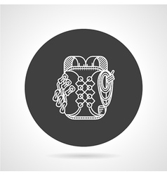 Hike backpack black round icon vector image