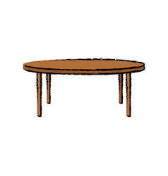Round wooden table furniture decoration vector