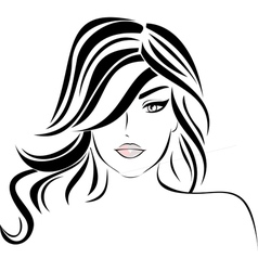 Beautiful girl with wavy hair vector image vector image