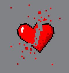 broken pixel art heart for game vector image