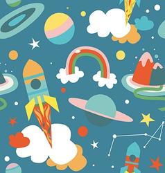 Cartoon cosmos blue seamless pattern vector image